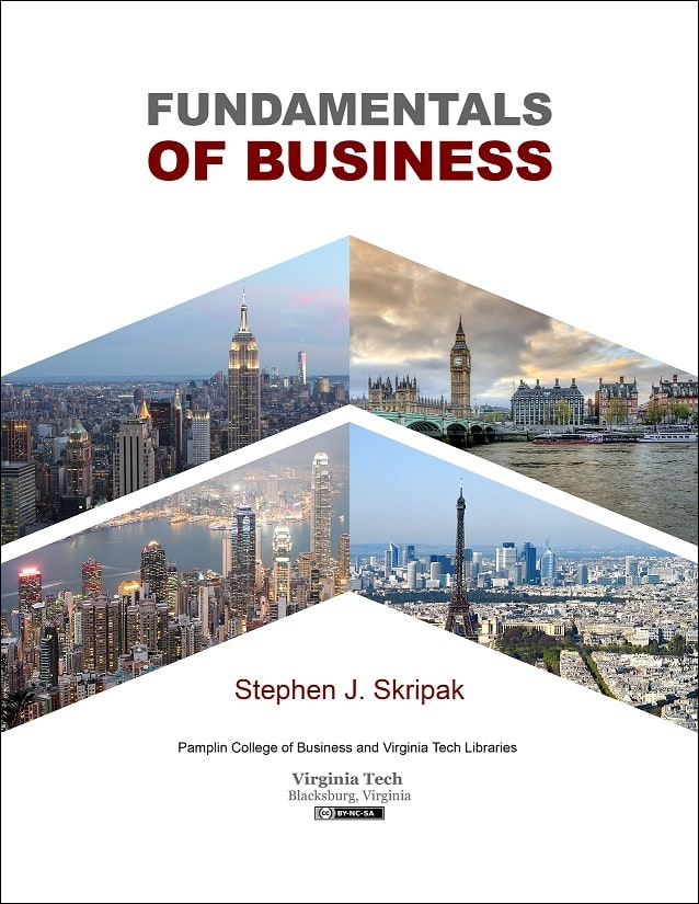 Cover of open textbook titled Fundamentals of Business