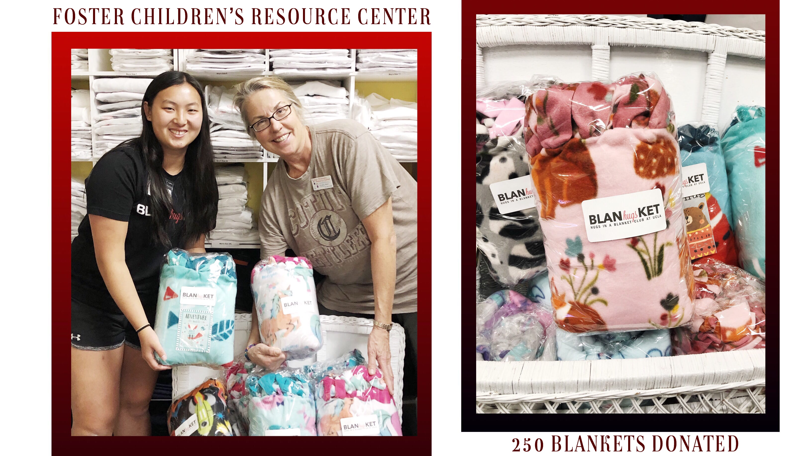 Photo of Camille Ng, President of Hugs in a Blanket and Kristin Muhl, Director of the Foster Children's Resource Center