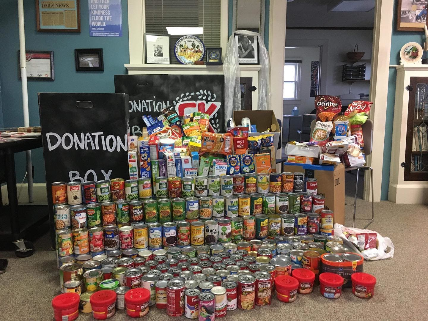 Non-perishable food items collected for Cardinal Kitchen Food Drive