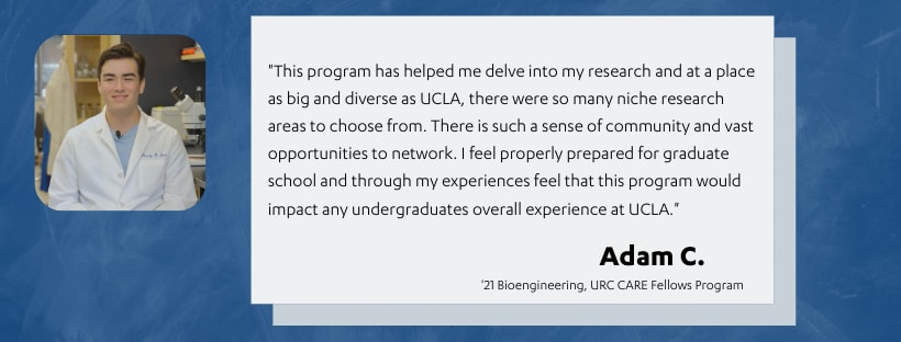 Depicts image of CARE Fellows student, Adam C. and their research experiences