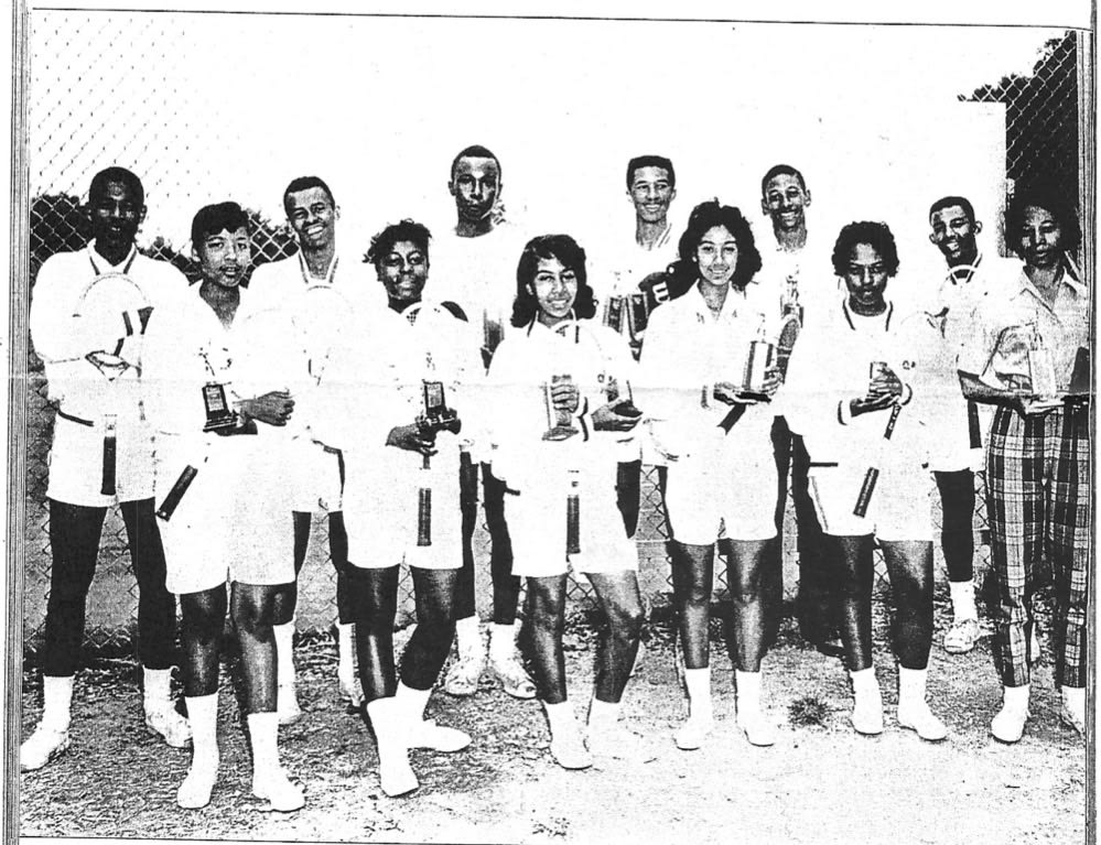 Image of State tennis champions and runner-ups for Virginia Black high schools (Arthur Ashe, back row, fourth from the left), April 1960. Photo courtesy of Doug Smith.