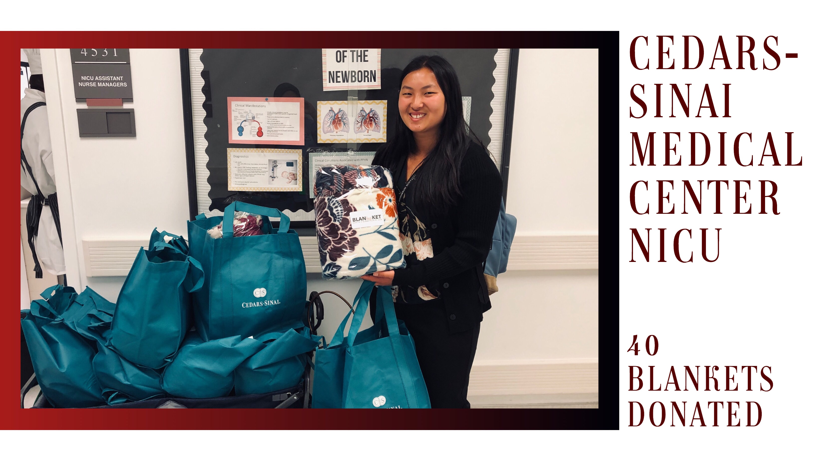 Camille Ng with the blankets which were donated to the Cedars-Sinai Medical Center NICU