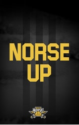 "Yellow ""Norse Up"" on a black background"
