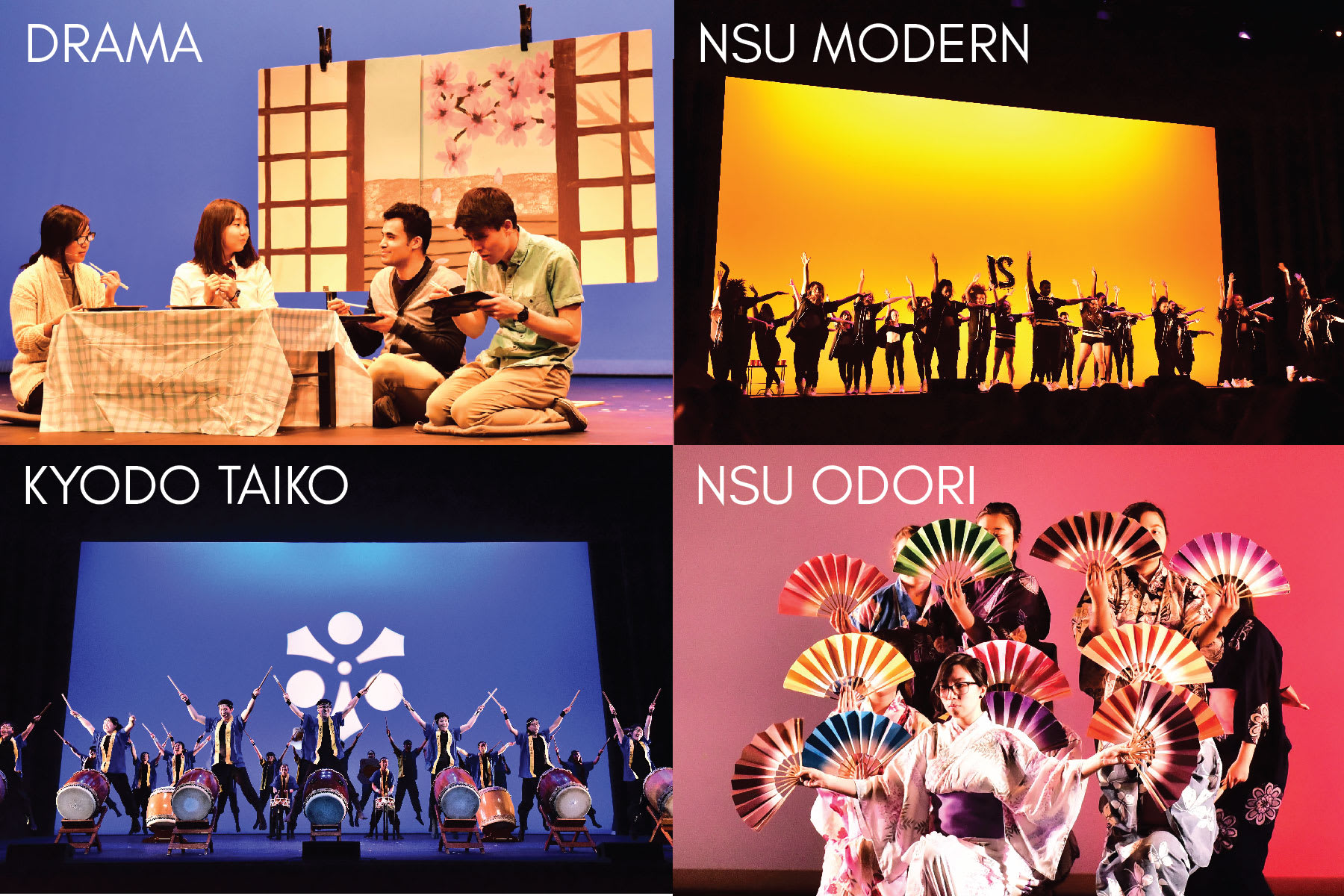 An image of the four performance groups (drama, Kyodo Taiko, NSU Odori, and NSU Modern) on Royce Hall stage.