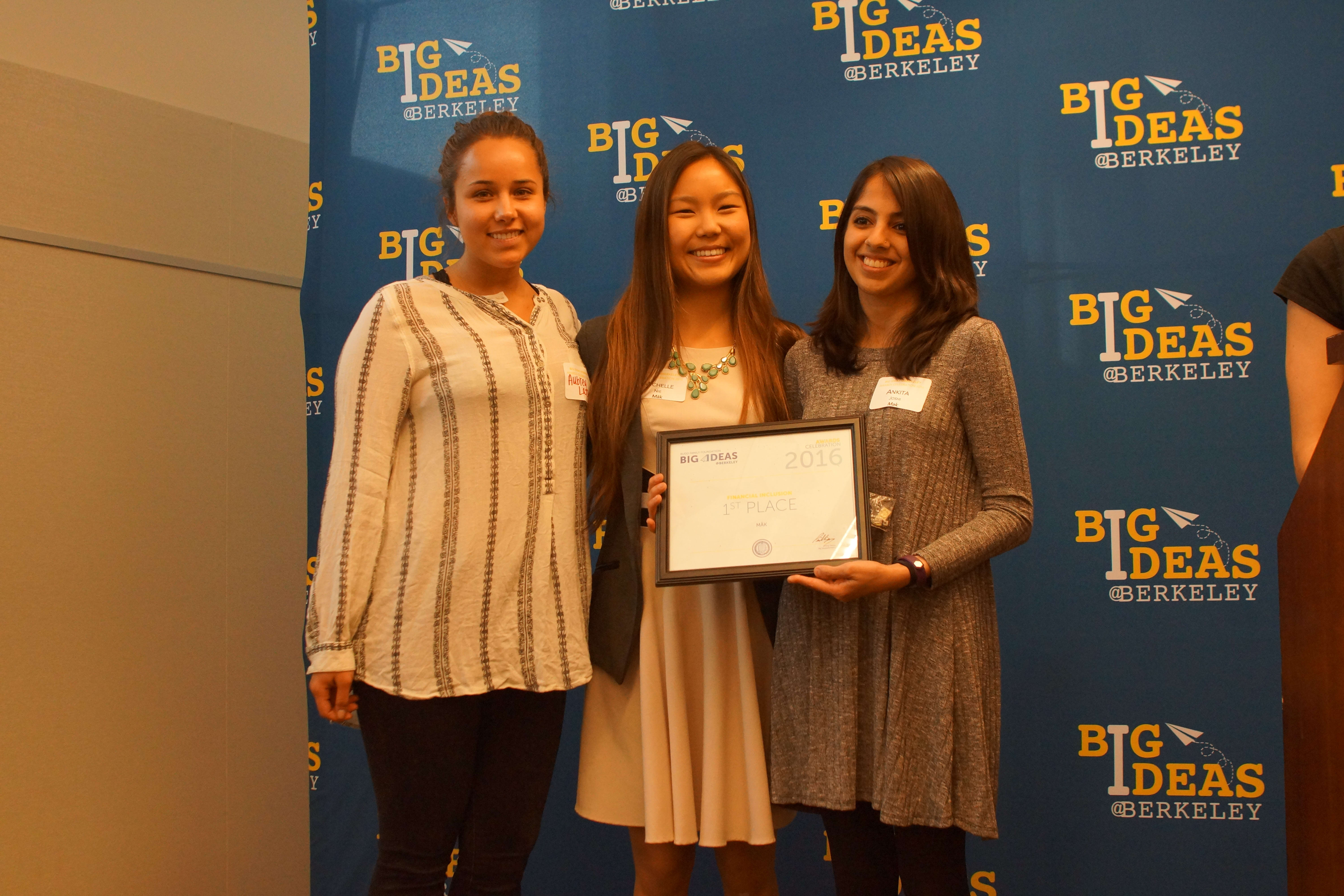 Cofounders Aubrey, Michelle, and Ankita accepting their Big Ideas prize!
