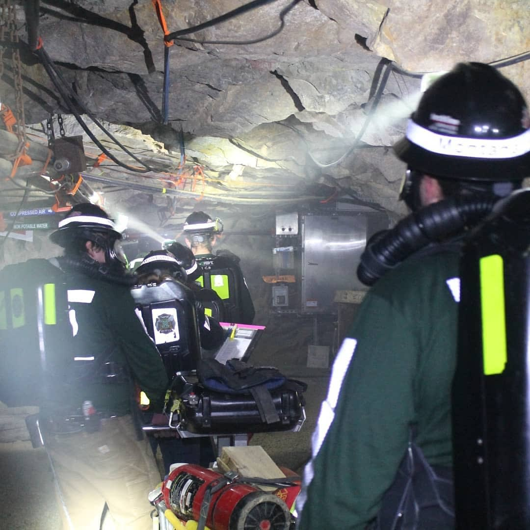 Montana Technological University Mine Rescue practices in the Underground Mine Education Center.