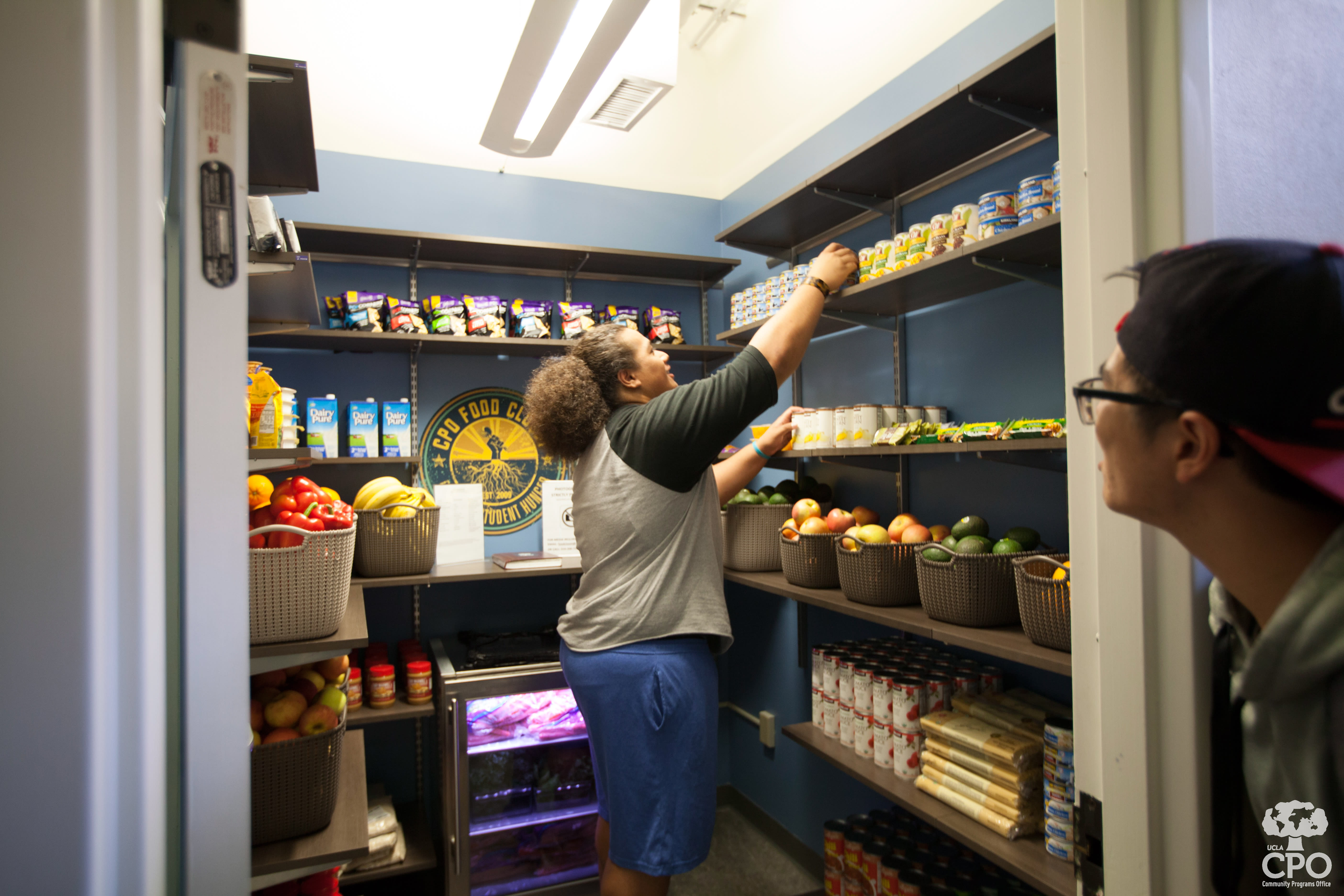Students regularly stock the Food Closet.