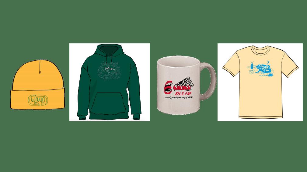 Photos of beanie, hoodie, mug, and t-shirt designs for merch premiums