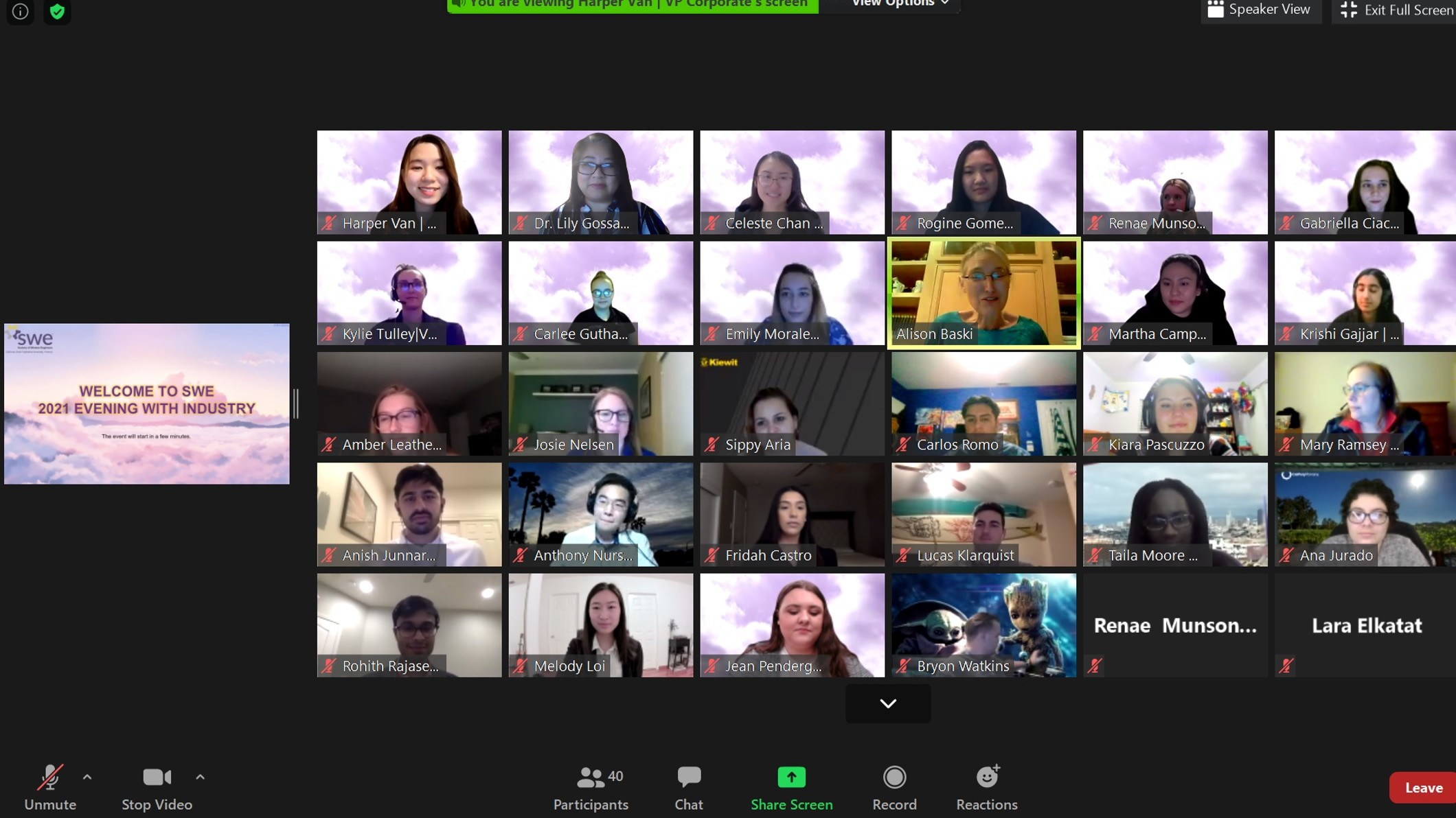 2021 Virtual SWE Evening With Industry Professional Networking Dinner