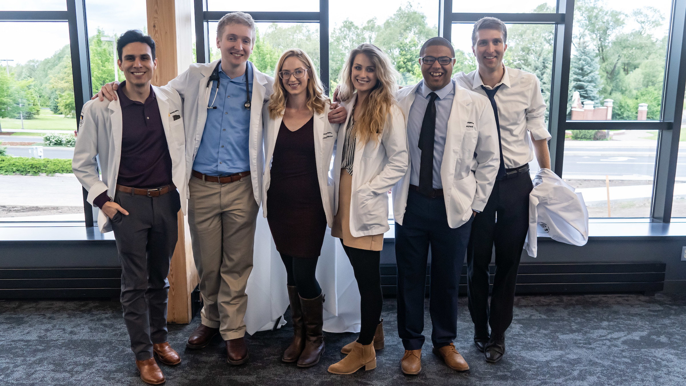 Medical students at the 2019 white coat ceremony reception.