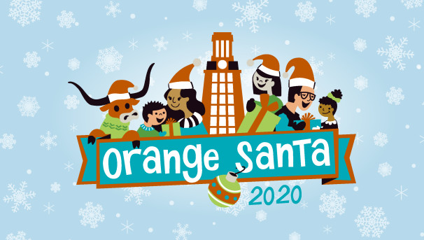 """Cartoon image of UT Tower with people and Bevo in orange santa hats, with """"Orange Santa"""" in banner"""