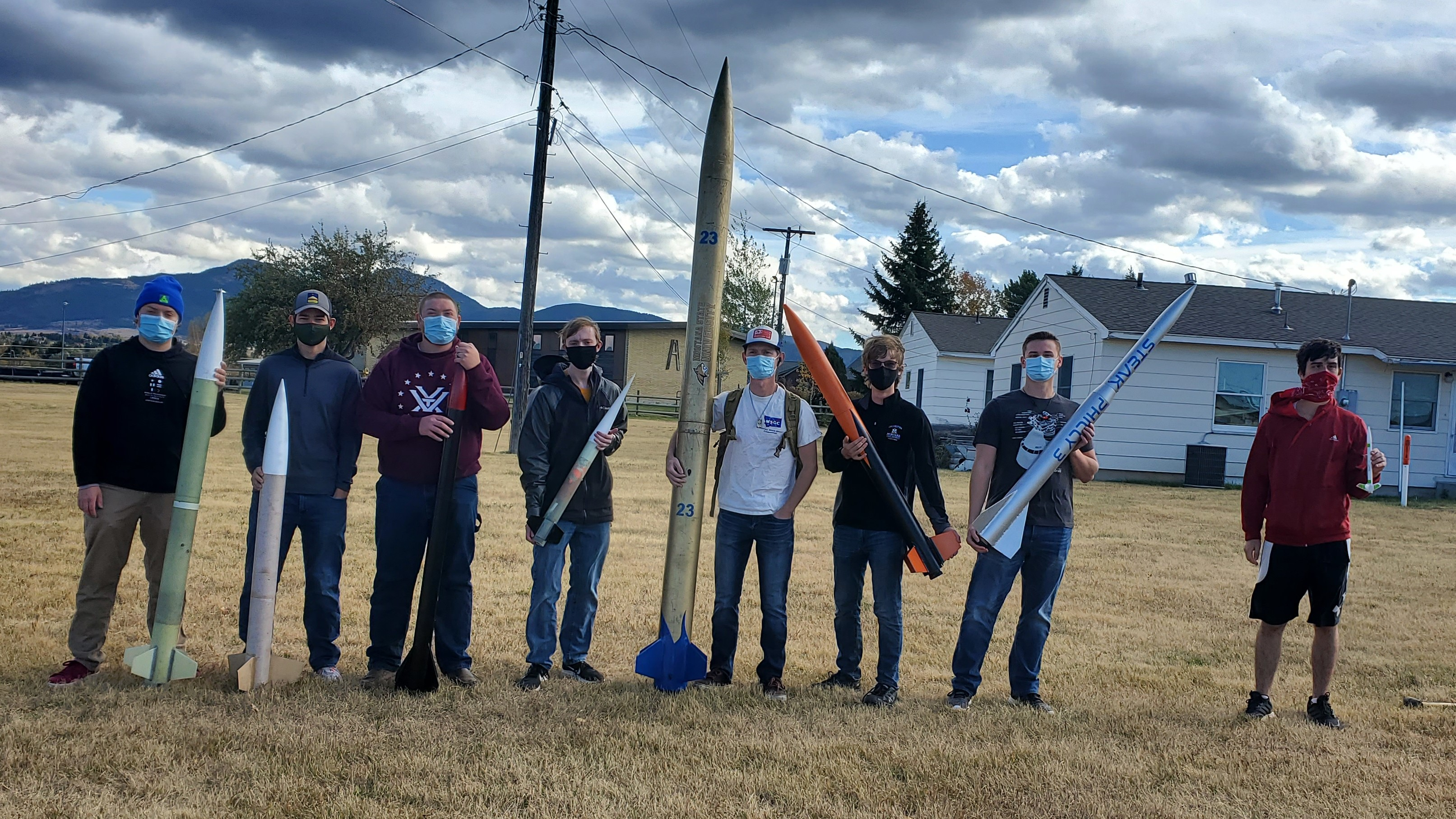 Rocketry Club with their rockets