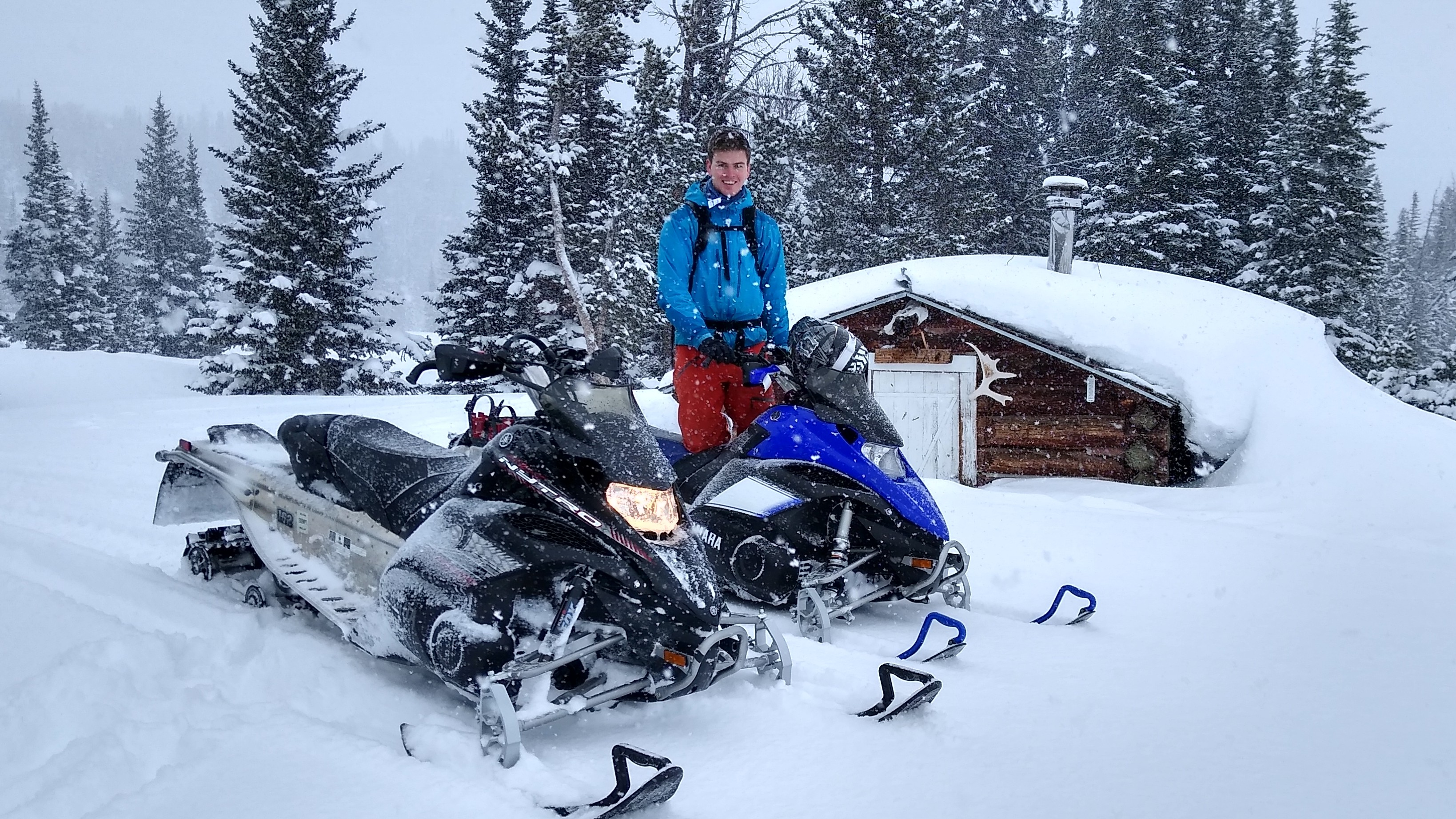Snow mobiles in the Field