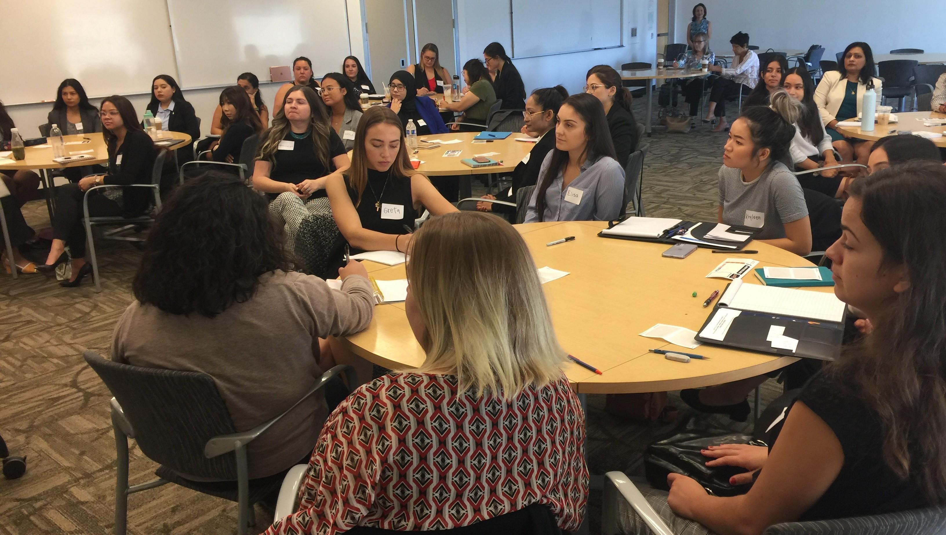 Students in a live Women's Leadership Program workshop