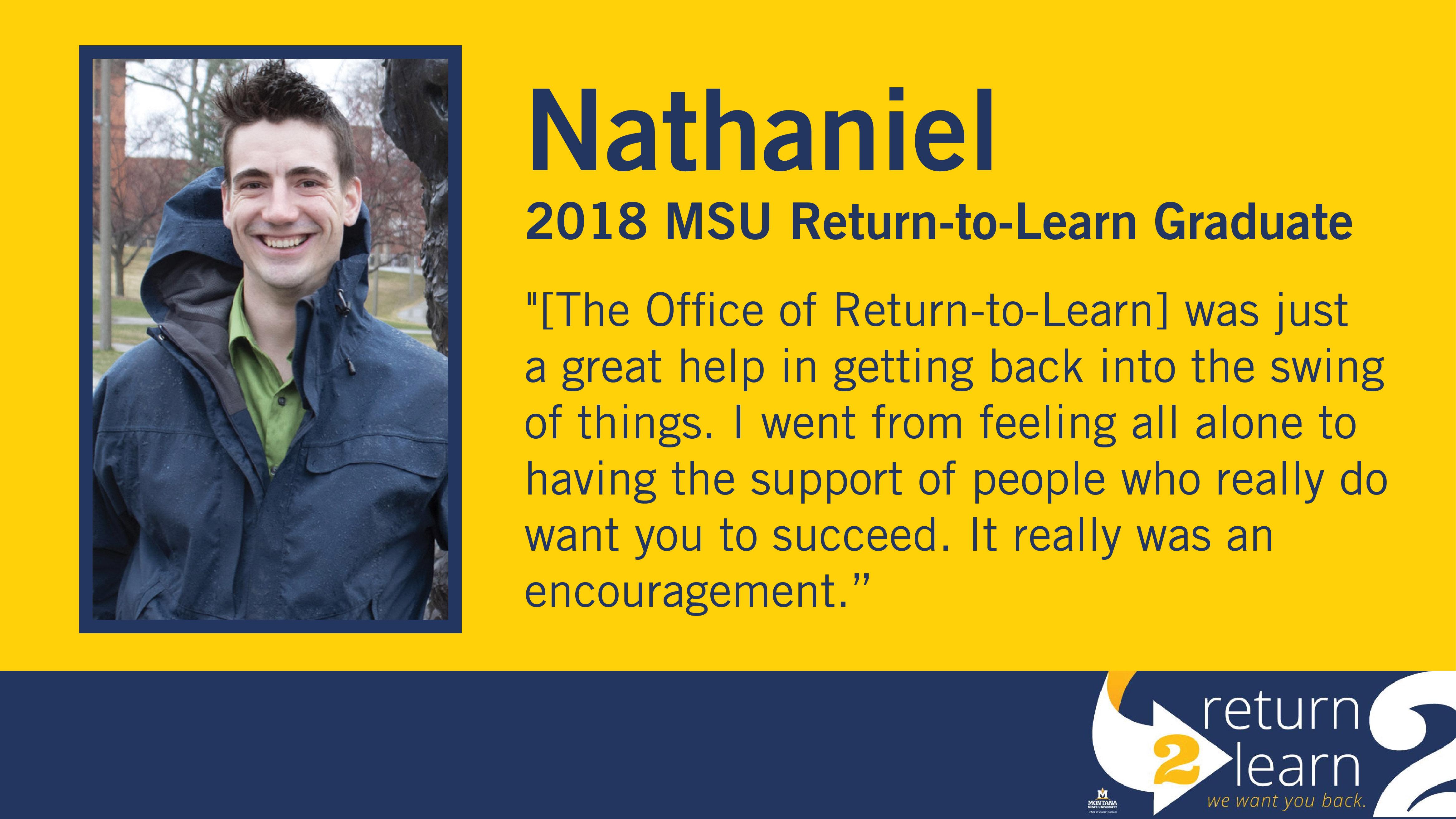 Nathaniel, 2018 MSU Return-to-Learn Graduate