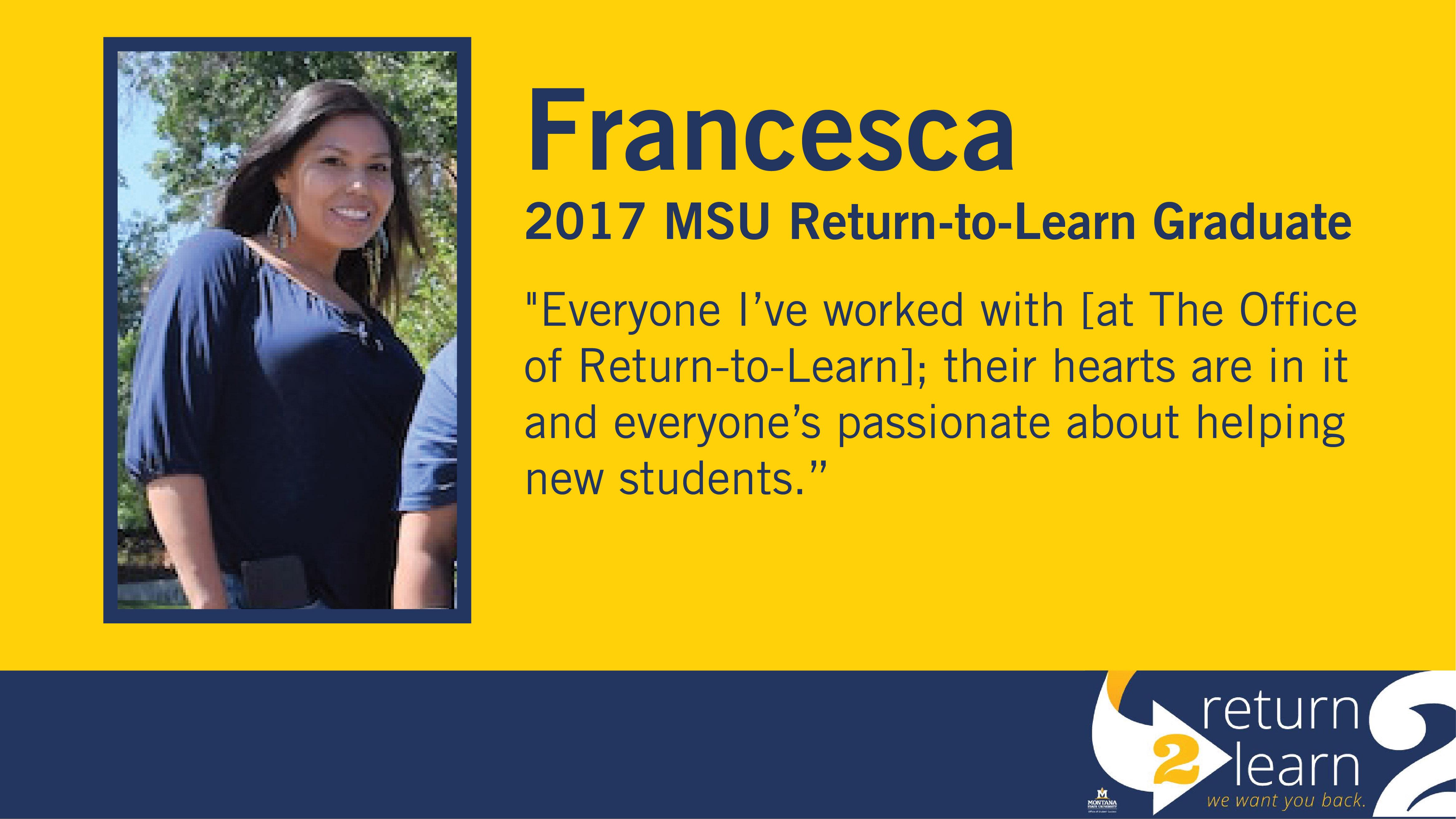 Francesca, 2017 MSU Return-to-Learn Graduate