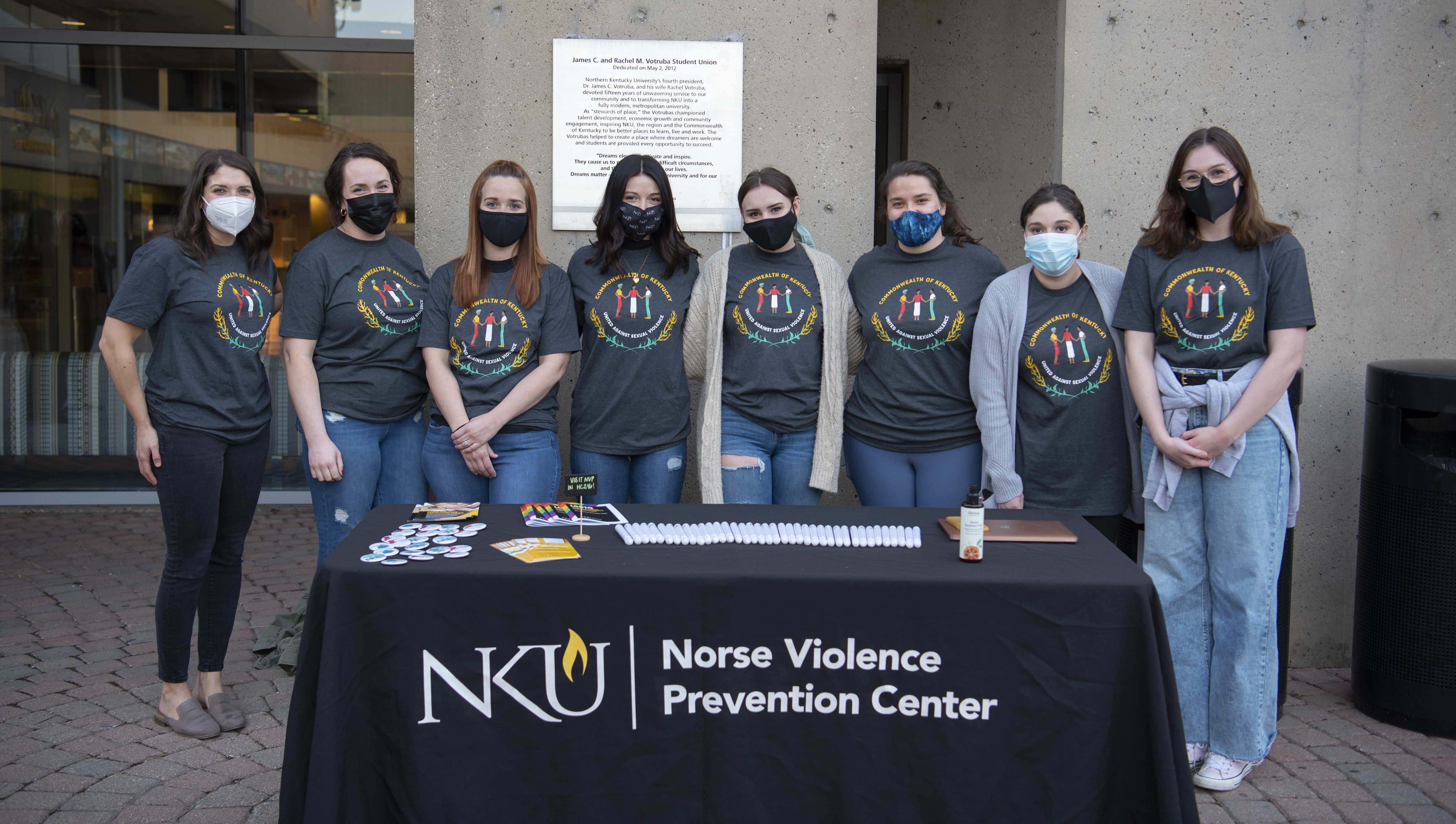 The Norse Violence Prevention team working for the Take Back the Night event on campus.