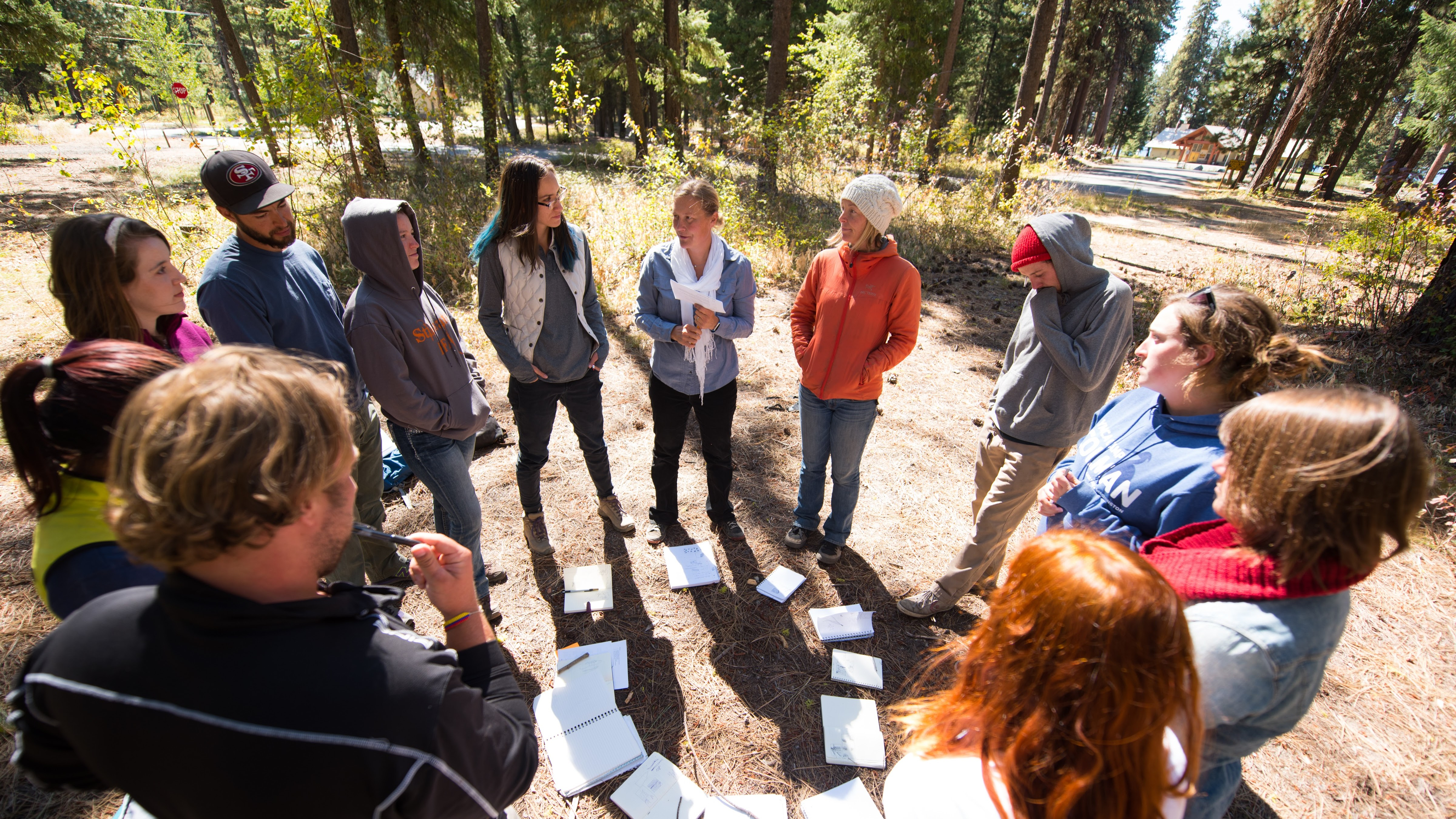 Graduate Student and Dr. Karla Eitel enjoy class in Ponderosa State Park