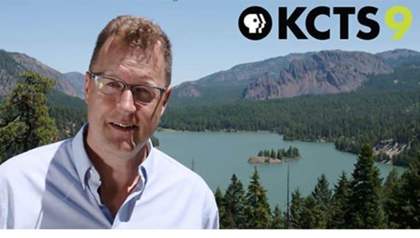 CWU Professor Nick Zentner and KCTS9 logo