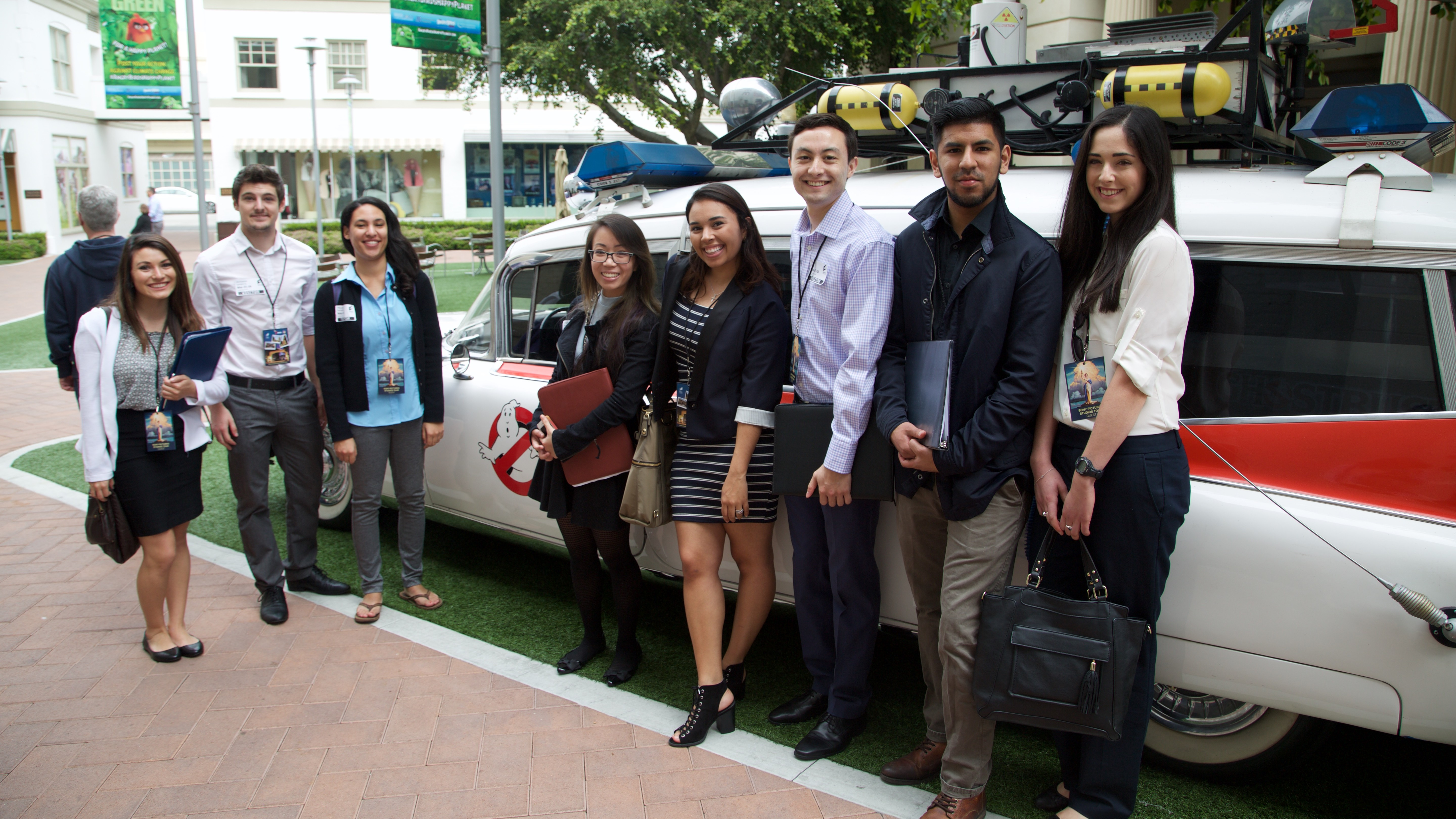 Students in the Sony lot during the Spring Break Entertainment Shadowing Program