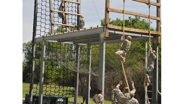 student-cadets on obstacle course