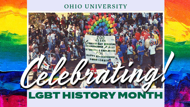 graphic for LGBT History Month which uses old Homecoming parade photo