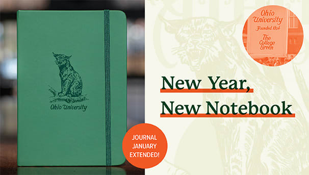 Image of green Bobcat journal and New Year New Notebook headline
