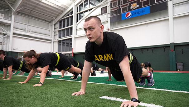 image of ROTC cadet doing pushups