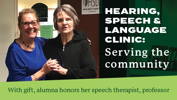 Photo of Molly and Emily and headline: Hearing, Speech & Language Clinic - Serving the Community
