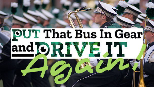 image that promotes Marching 110's fundraising campaign for Homecoming 2021