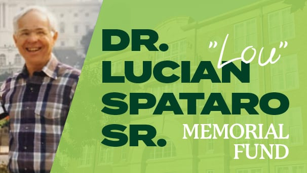 image of Dr. Spataro and Copeland Hall in the background for Spataro Sr Memorial Fund