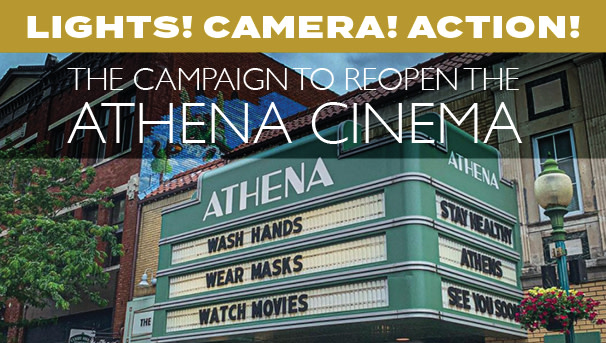 image of the Athena marquee with Lights Camera Action headline above it