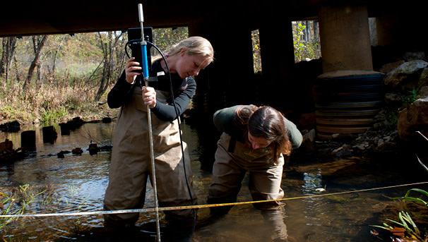 photo of OHIO researchers in a stream