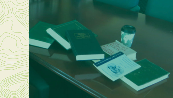 photo of books on a conference room table