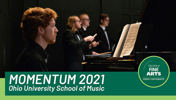 graphic that says Momentum 2021 OU School of Music with four musicians in the background