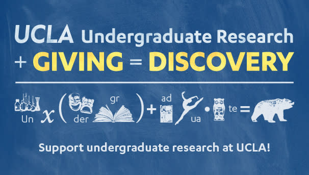 UCLA Graphic - UCLA Undergraduate Research + Giving = Discovery