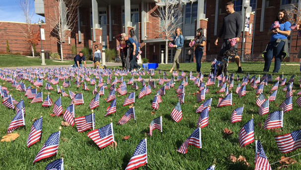 Flag planting on campus