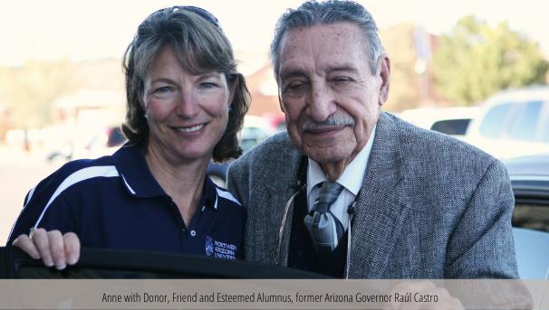 Anne with Donor, Friend and Esteemed Alumnus, former Arizona Governor Raúl Castro