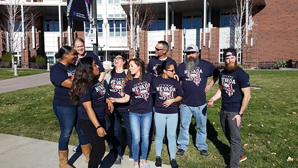 Veteran students in front of JCSU
