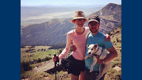 Jessica, Tom and dog hiking