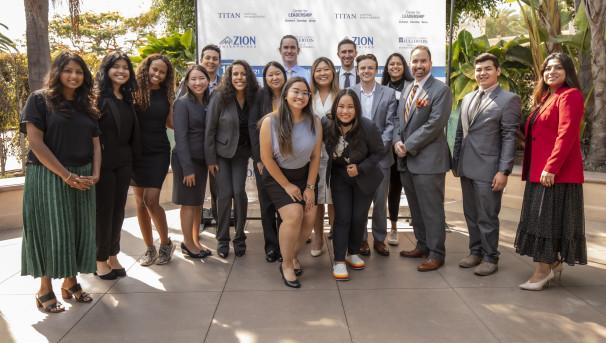 Leadership Scholar Program students standing together outside