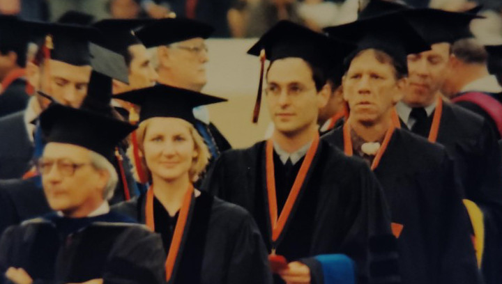 "Dr. Petrin, Patti Loughlin, Rich Faillace, and Bill Homans (""Watermelon Slim"") at 2000 commencement"