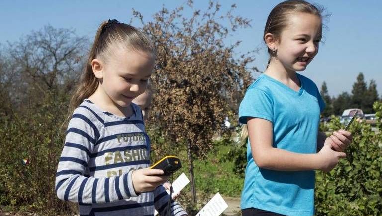 A GPS treasure hunt along the Trans-California Pathway during Science Day.