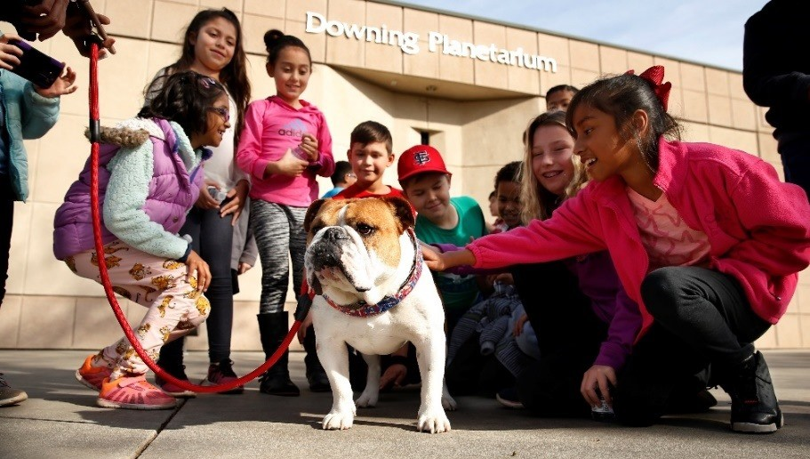 Victor E. Bulldog loves teaching new friends what Bulldog Spirit is all about!