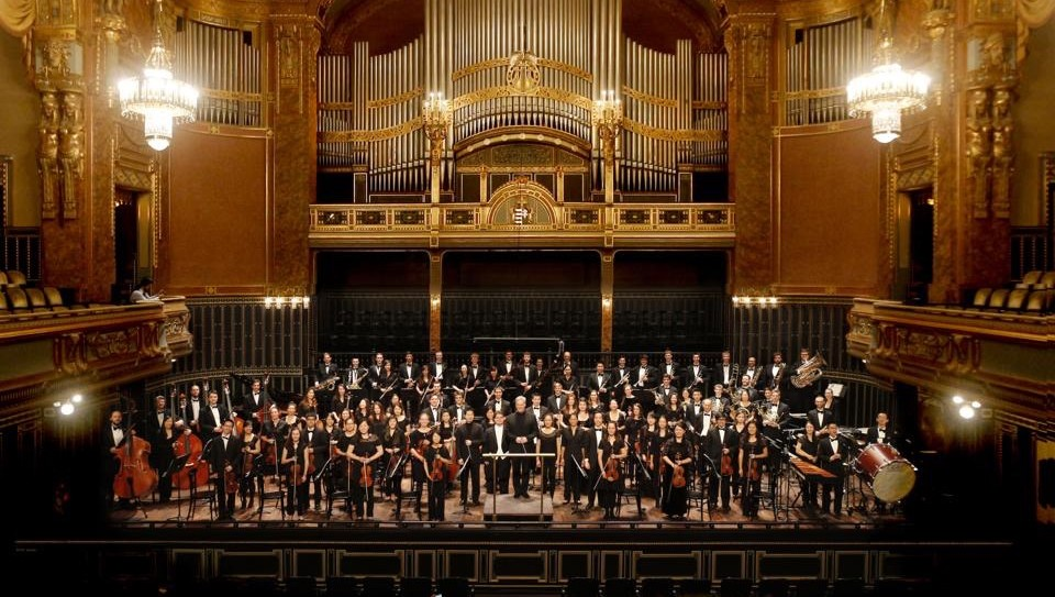 The orchestra takes a bow at the Franz Liszt Academy of Music in Budapest