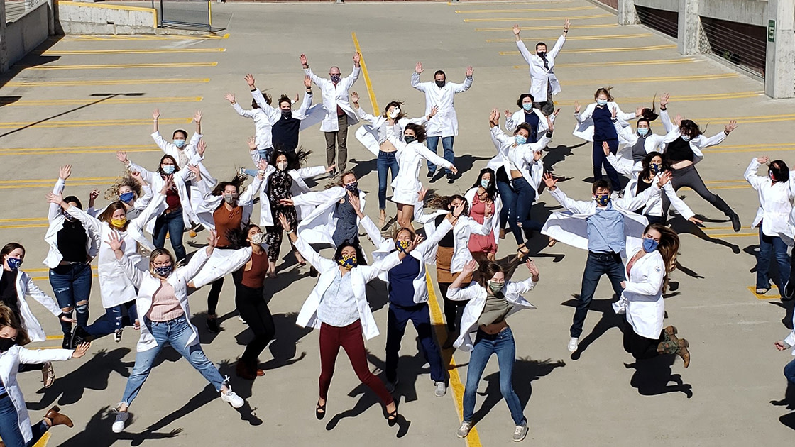 Billings Students Celebrate after their White Coat Ceremony Fall 2020