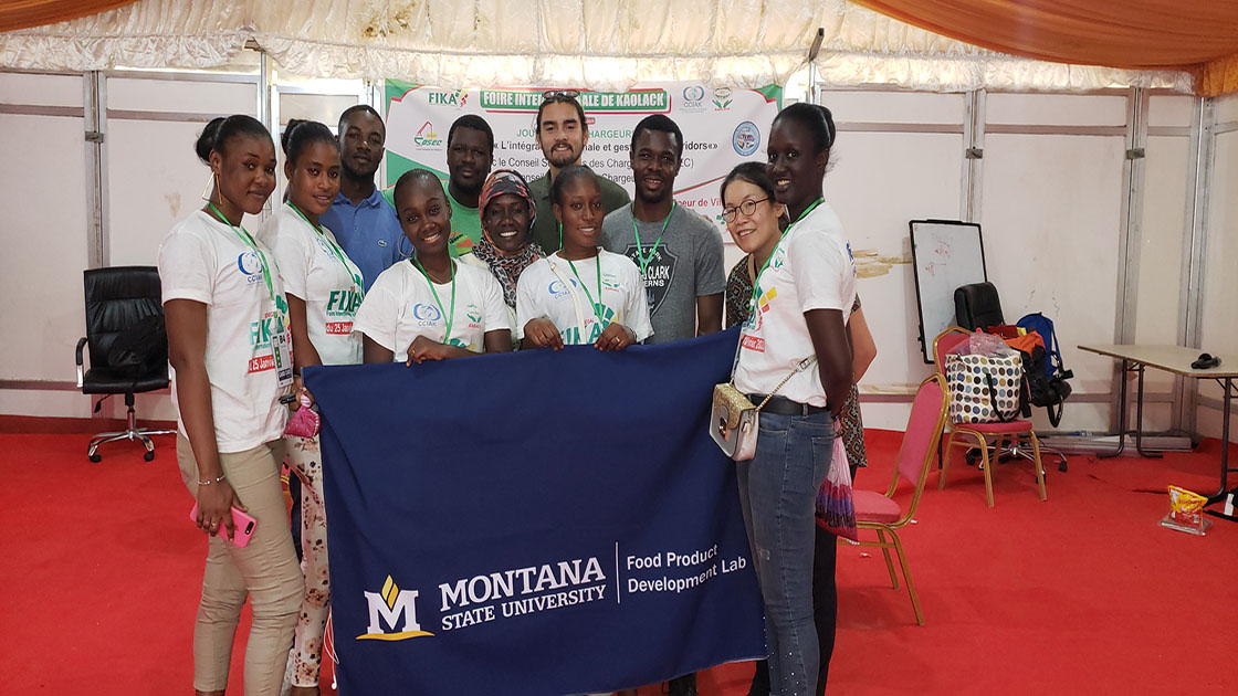 Group with MSU flag in Senegal