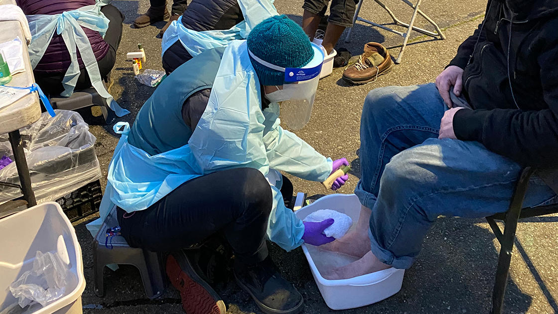 UW School of Nursing students provide footcare at UW's Tent City 3