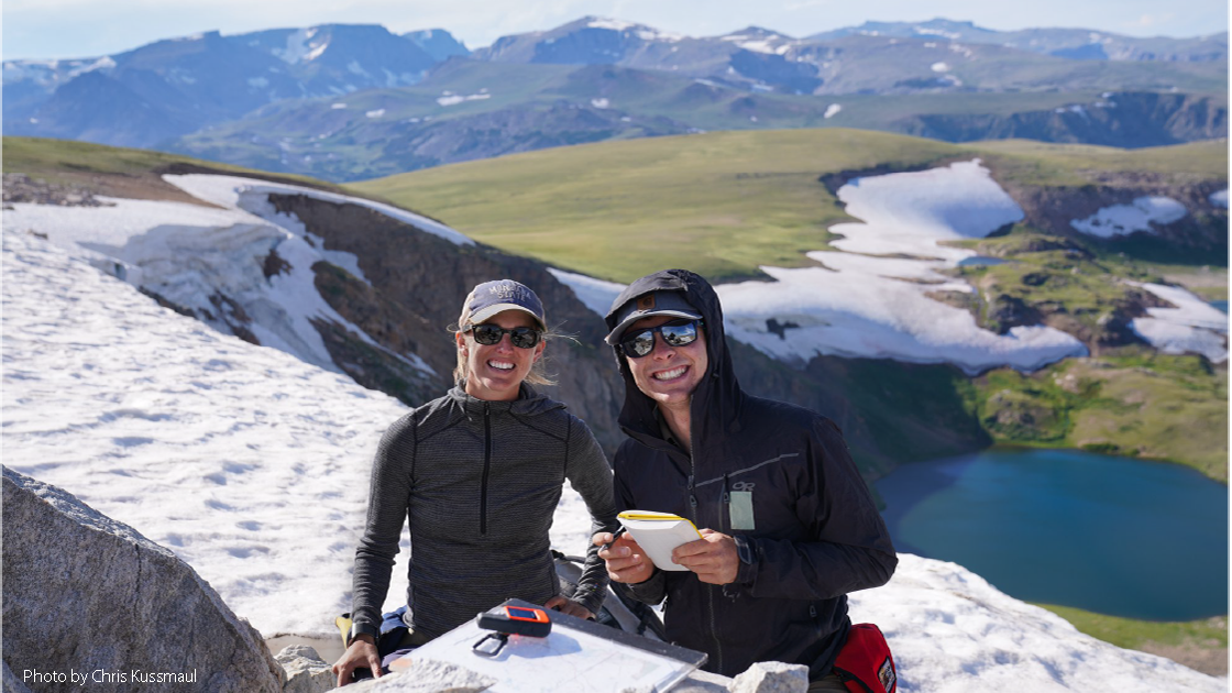 Devon Orme and Chance Ronemus conducting fieldwork in the Beartooth Mountains, Montana.