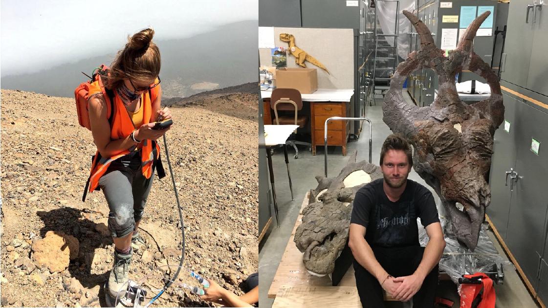 Erica Duncan analyzing Teide Volcano gas samples, Jack Wilson studying evolution of Centrosaurines